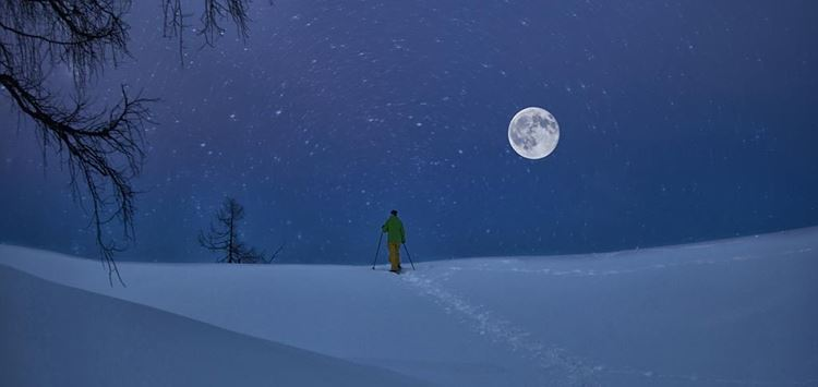 Full moon snowshoeing